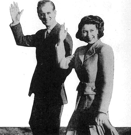 Prince Phllip and Queen Elizabeth waving True Romance 1953