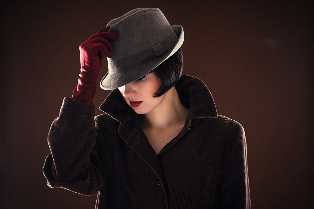 beautiful fashionable woman detective