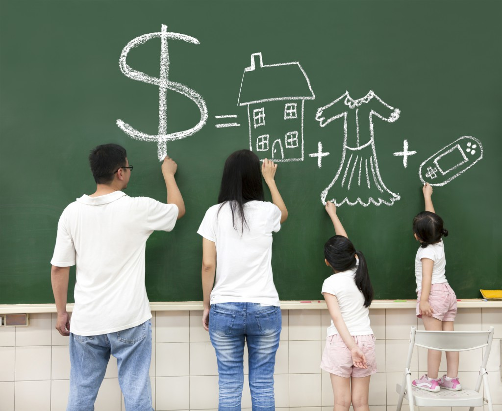 family drawing money house clothes and video game symbol