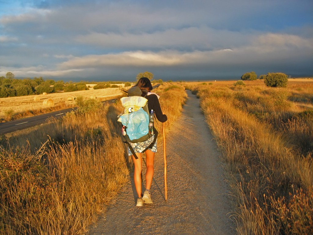 Girl walking on Camino de Santiago