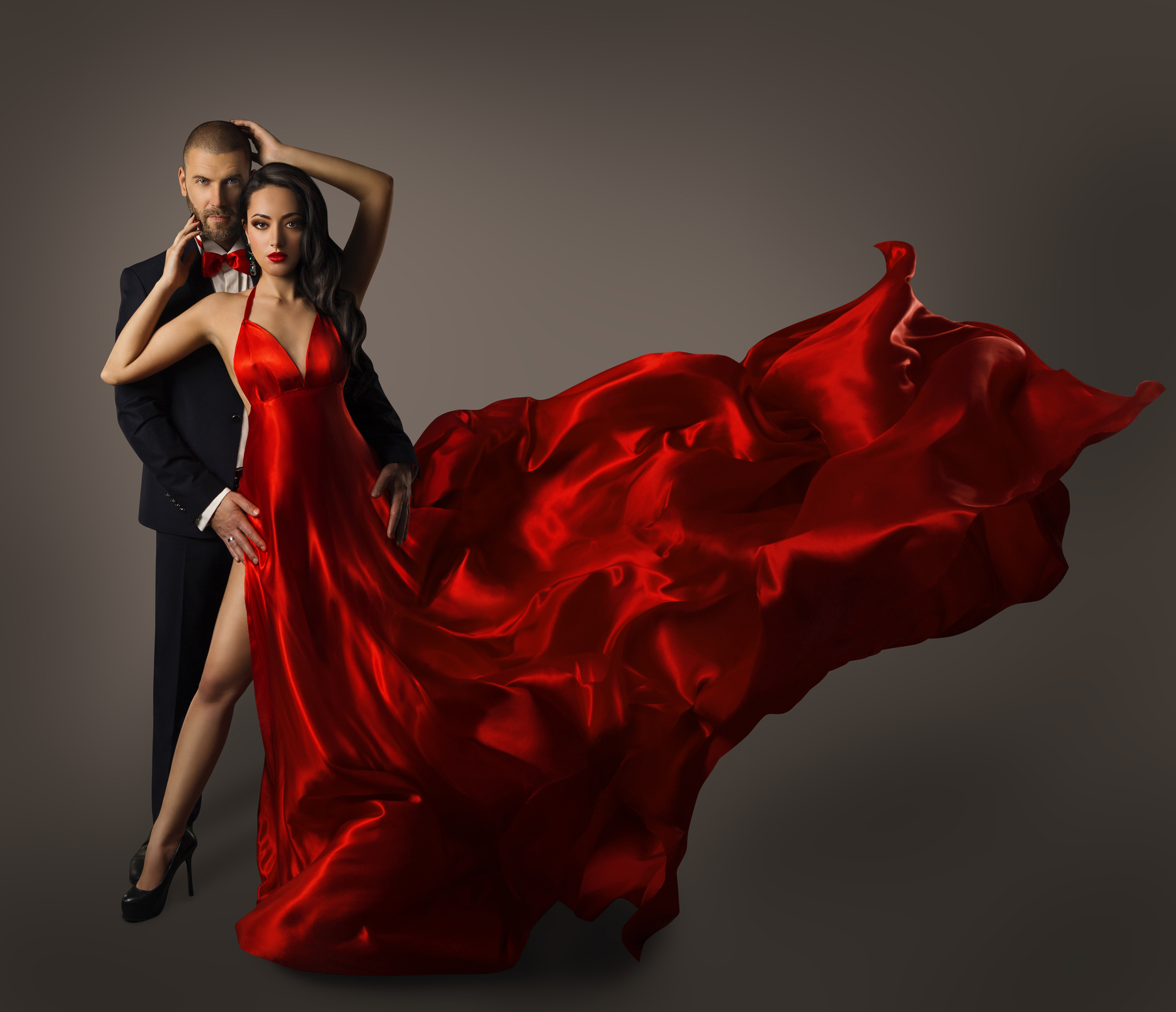 Fashion Couple Portrait, Woman Red Dress, Man Suit, Flying Cloth